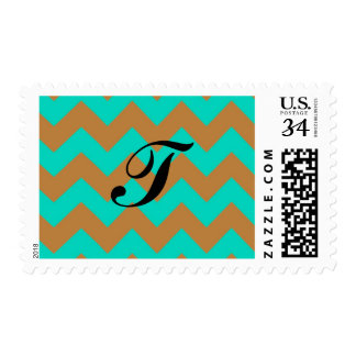 20 Postage Stamps Chevron Brown & Seafoam