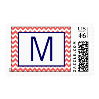 20 Postage Stamps Cooral Navy Blue Name Chevron