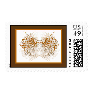 20 Postage Stamps Damask Autumn