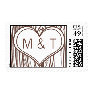 20 Postage Stamps Fall Tree Initial Carvings Autum