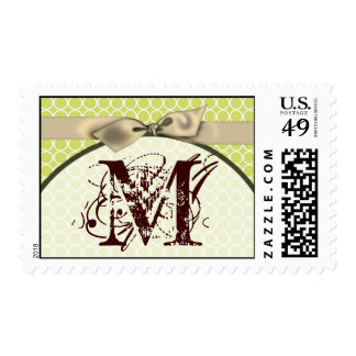 20 Postage Stamps Green Circle Ivory Bow