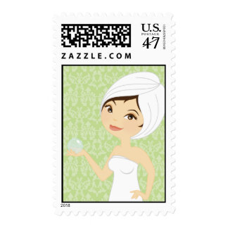 20 Postage Stamps Green Damask Spa Massage Therapy