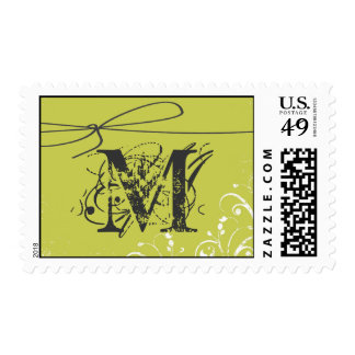 20 Postage Stamps Green Floral Flourish