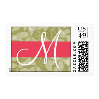 20 Postage Stamps Green Leaves Pink