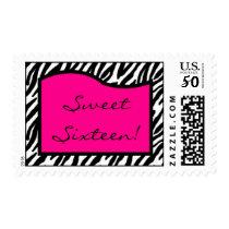 20 Postage Stamps Hot Pink Zebra Print