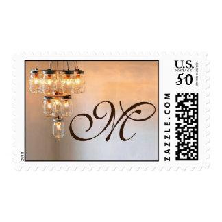 20 Postage Stamps Mason Jar Chandelier Candle Ligh