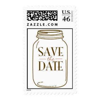 20 Postage Stamps Pink/Brown Mason Jar