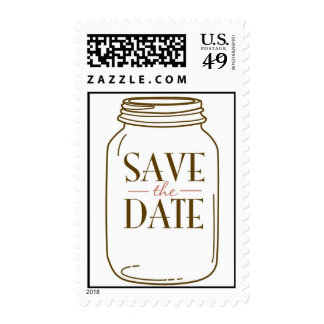 20 Postage Stamps Pink/Brown Mason Jar