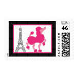 20 Postage Stamps Pink Poodle Paris Eiffel Tower