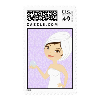 20 Postage Stamps Purpl Damask Spa Massage Therapy