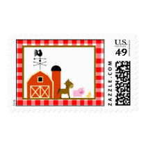 20 Postage Stamps Red Barn Farm Animals