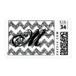 20 Postage Stamps Silver Glitter Chevron Stripe