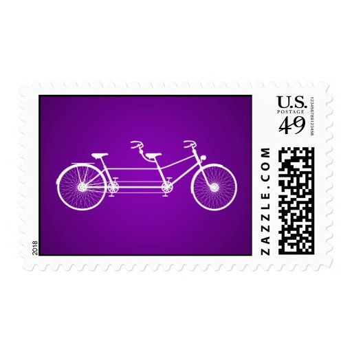 20 Postage Stamps Whimsical Purple Double Bike