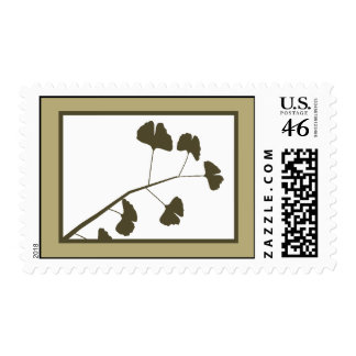 20 Postage Stamps White Ginkgo Leaves