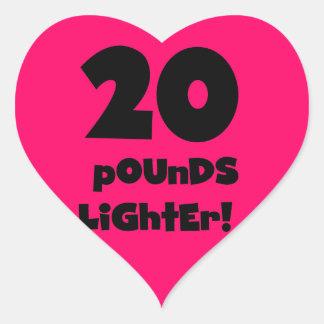 20 Pounds Lighter Heart Sticker
