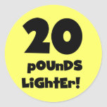 20 Pounds Lighter Round Stickers
