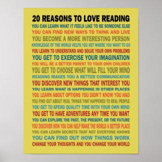 20 razones para amar los libros de lectura póster