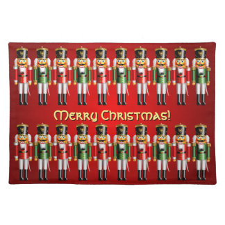 20 Red And Green Xmas Nutcracker Toy Soldiers Cloth Placemat