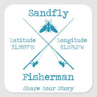 20 Sandfly Fisherman Small Square Stickers