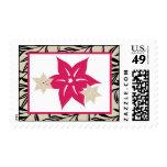 20 sellos rosa y flores salvajes negras