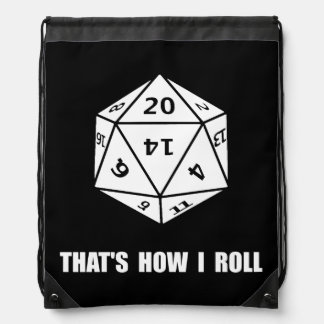 20 Sided Dice Roll Drawstring Bag