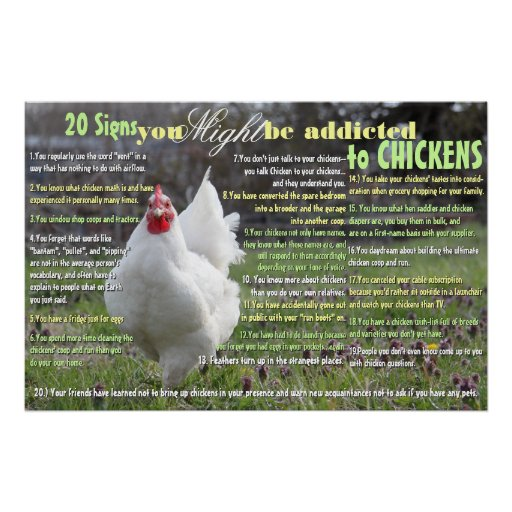 20 Signs You MIGHT be Addicted to Chickens Print