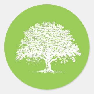 20 Spring Tree Green/White Wedding Envelope Seal Sticker