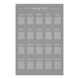 20 Table Large Wedding Seating Chart - Any Color