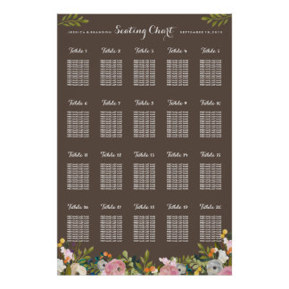 20 Table Wedding Seating Chart Poster by Table
