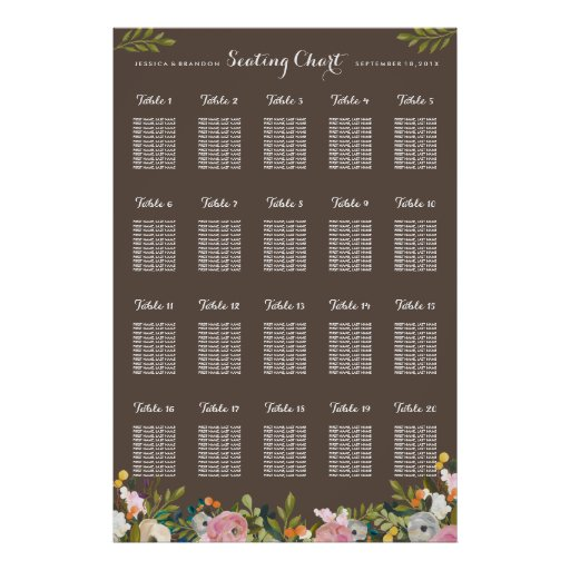 20 table wedding seating chart poster by table zazzle for Table seating for 20