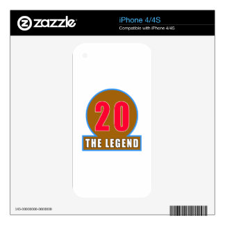 20 The Legend Birthday Designs iPhone 4S Decal