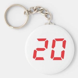 20 twenty red alarm clock digital number basic round button keychain