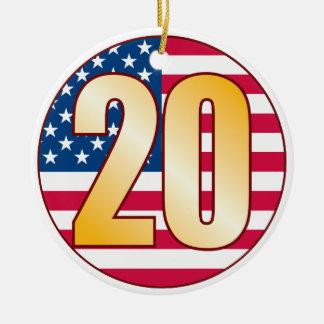 20 USA Gold Ceramic Ornament