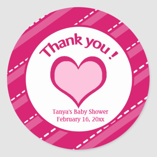 20 Valentines Day Heart Thank you Stickers
