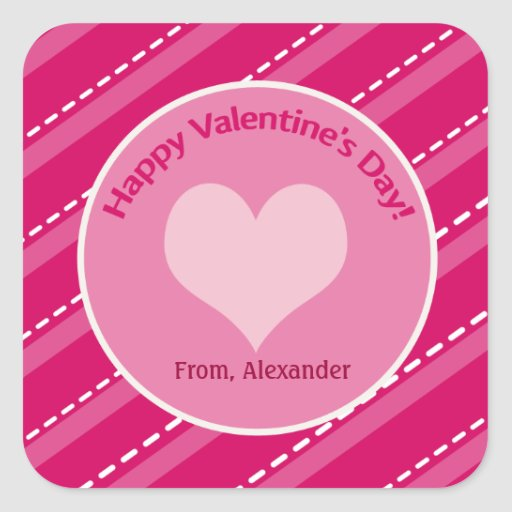 20 Valentine's Day Hearts n Dashes Square Stickers