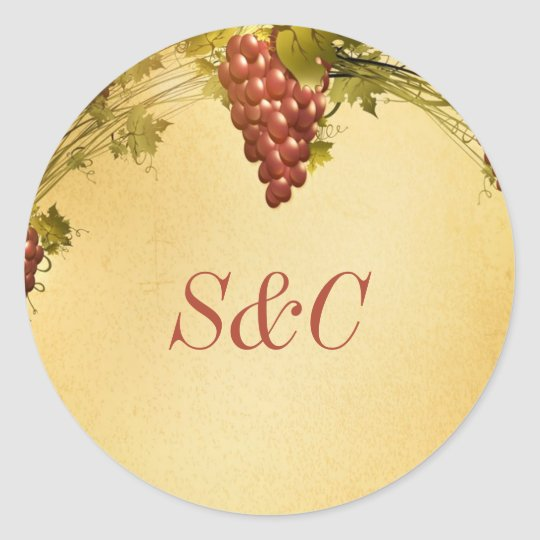 20 Vineyard Wedding Favor Stickers