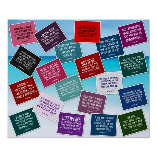 20 Volleyball Quotes in Color Poster
