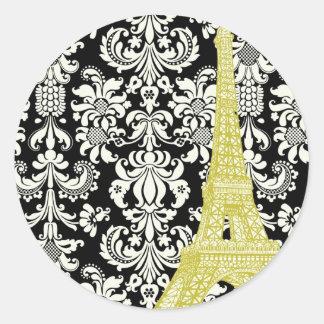 20 Wedding in Paris Black Damask Envelope Seal