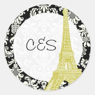 20 Wedding in Paris Black Damask Favor Stickers