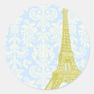 20 Wedding in Paris Blue Damask Envelope Seal