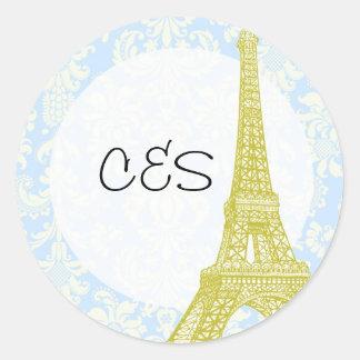 20 Wedding in Paris Blue Damask Favor Stickers