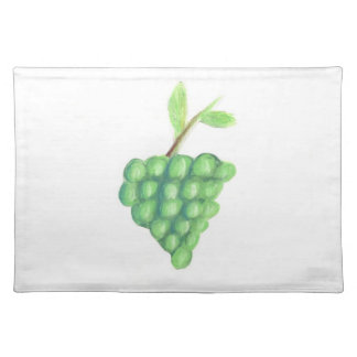 "20""x14"" TABLE PLACE MAT GREEN GRAPES - PASTEL ART Cloth Placemat"