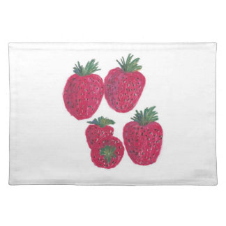 "20""x14"" TABLE PLACE MAT STRAWBERRIES - PASTEL ART Cloth Placemat"