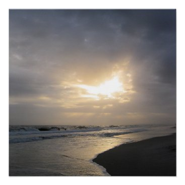 "Beach Themed 20""x20"" Beach Sunset Poster Print"