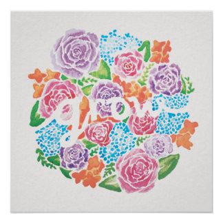 "20""x20"" Grow Watercolor Flower Poster (Semi-Gloss)"