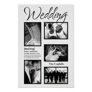 """20""""x30"""" 5 Slot Personalized Wedding Collage Montag Print"""