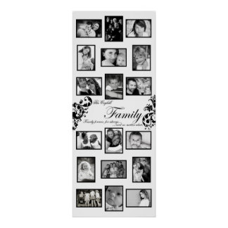 """20""""x50"""" 18 Slot Personalized Family Collage Montag Posters"""