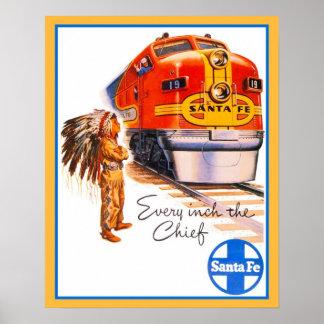 20 x 16 anuncio del tren de Santa Fe del vintage Posters