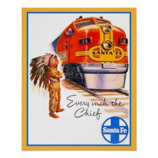 "20"" x 16"" Retro vintage Santa Fe Chief Train ad Poster"