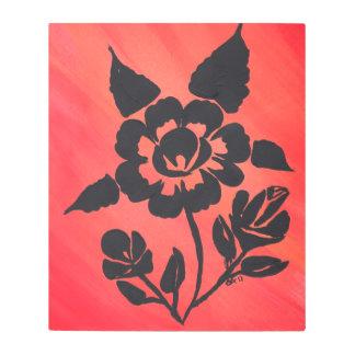"20"" x 24"" Metal  Black Stencil Roses Painted Art"